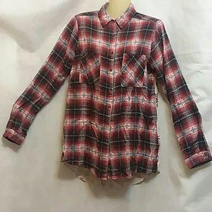 Hint Of Mint Plaid Mixed Media Flannel Shirt